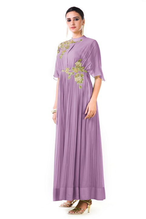 Hand Embroidered Lavender Overlapped Yoke Pleated Dress