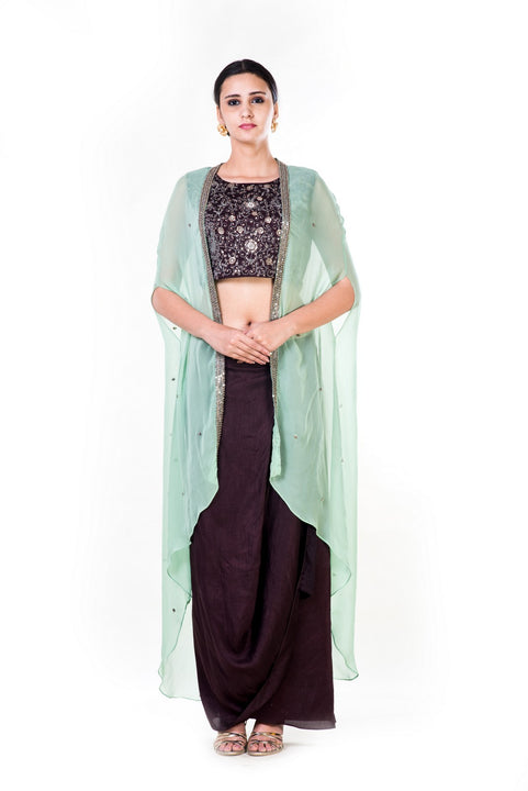Hand Embroidered Brown & Green Cape Crop Top & Brown Draped Skirt Set