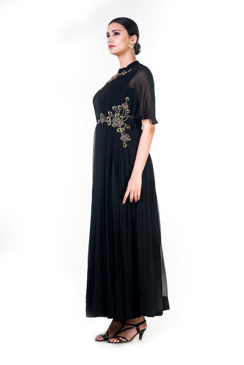 Hand Embroidered Black Overlapped Yoke Pleated Dress