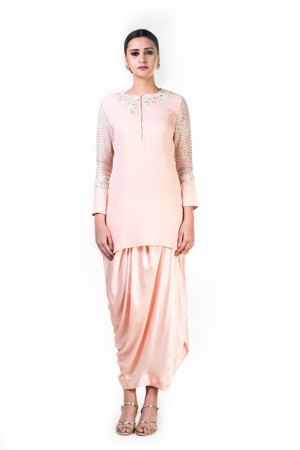 Embroidered Blush Peach Gota Work Top And A Draped Skirt