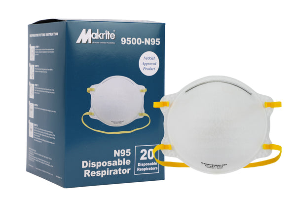 Saris and Things N95 Respirator Mask with Niosh Approval 9500-N95 M/L Size (Box of 20)