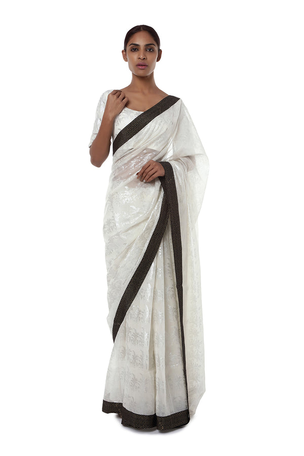 Masaba Ivory Tropical Banana Chanderi Sari With Ivory Tropical Banana Blouse Piece