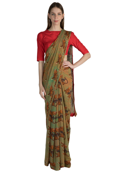 Masaba Mint Sultan Print Sari With Red Blouse Piece