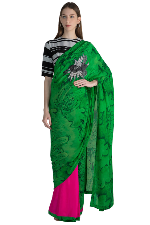 Masaba Parrot Green Songbirds And Pink Half And Half Sari With Black And With Stripe Blouse Piece