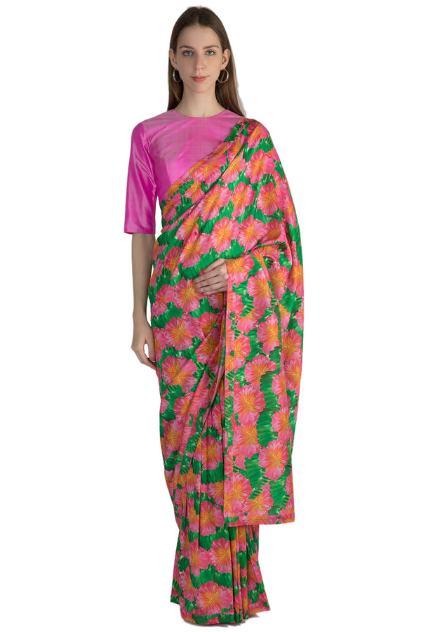Masaba Pink Savannah Print Sari & Two Tone Pink Blouse Piece
