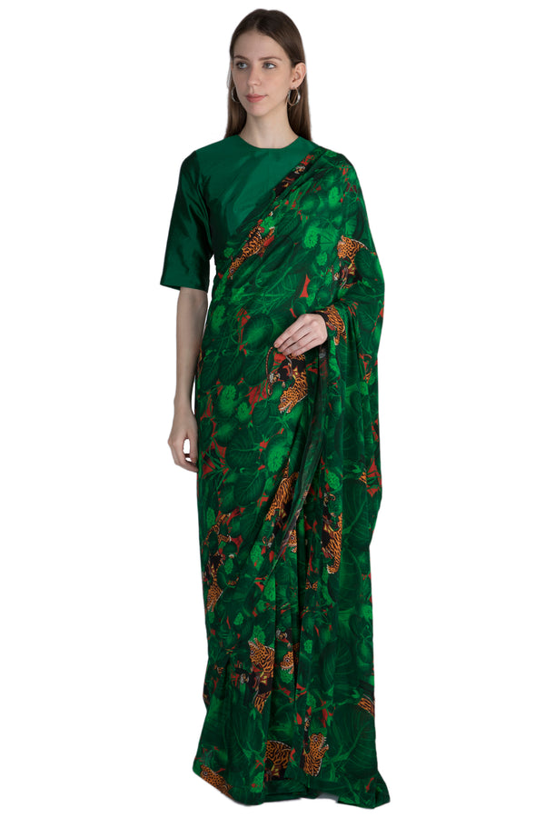 Masaba Emerald Jungle Printed Sari With Emerald Blouse Piece