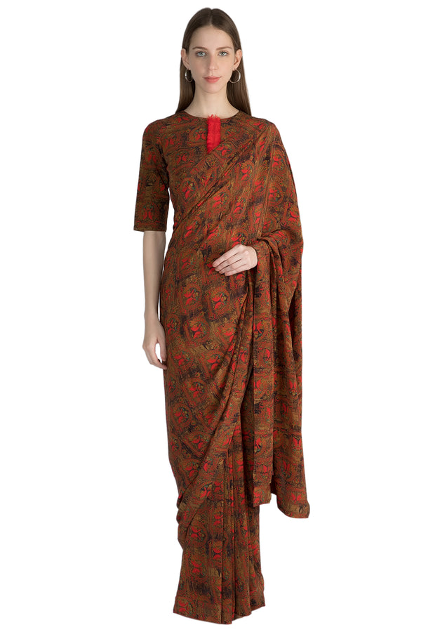 Masaba Ethnic Indian Red A Royal Affair Sari With Blouse Piece  - MAW19418