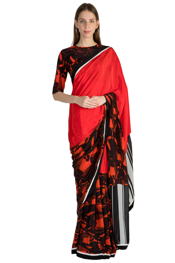 Masaba Red Grazing Cows Half & Half Sari With Blouse Piece