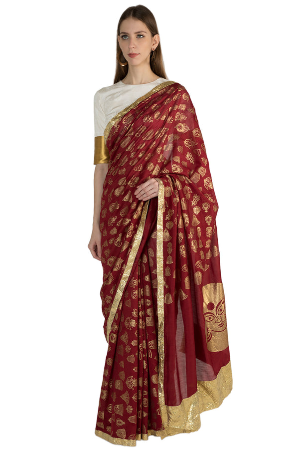 Masaba Gupta Indian Designer Maroon Gulshan Print Sari With Gota Border & White Blouse Piece
