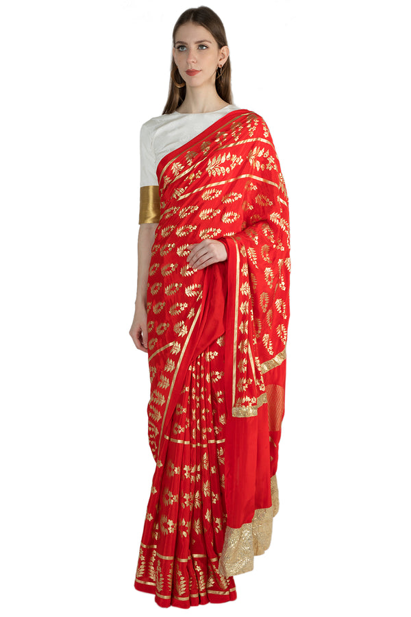 Masaba Gupta Indian Designer Red Patraka Print Sari With Gota Border &White Blouse Piece