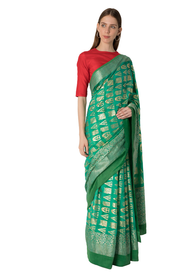 Masaba Green Ombre Arrows Print Banarasi Sari With Blouse Piece