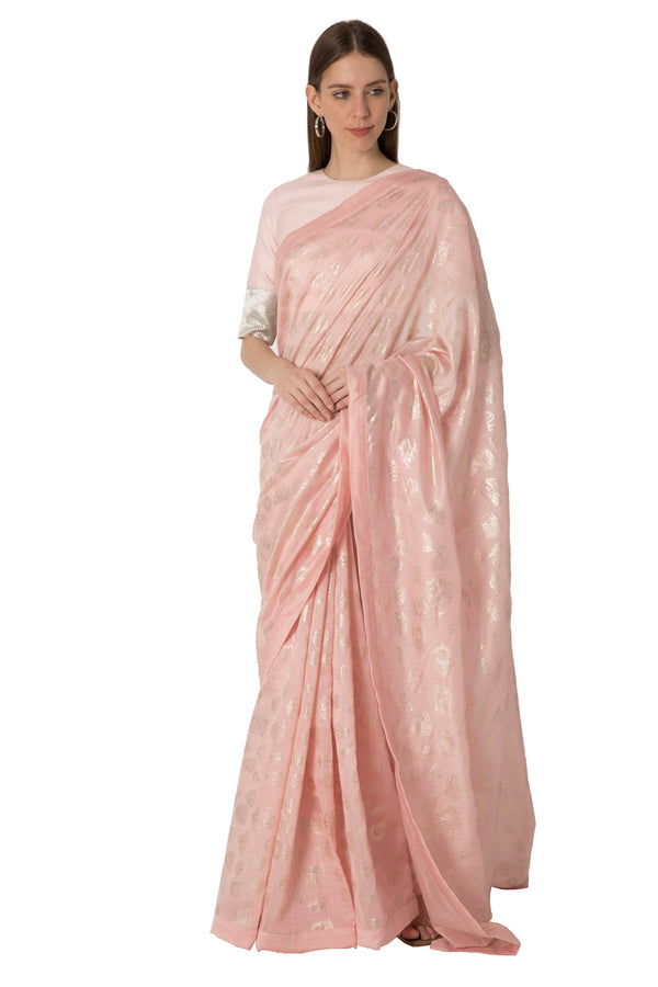 Masaba Gupta Indian Designer Light Pink Gulshan Print Foil Sari Light Pink Blouse With Zari Border