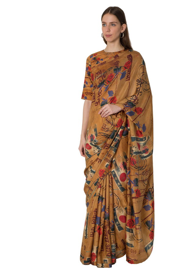 Masaba Brown Lost Letters Print Saree With Blouse Piece