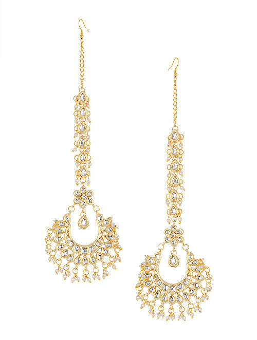 Kundan Chand Earrings With Kundan Ear Chains - MRR262