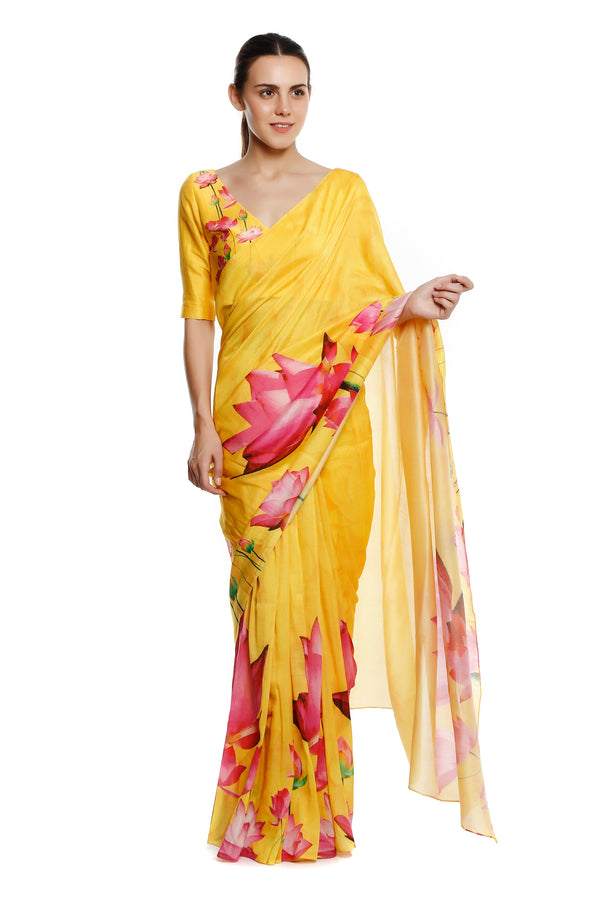 Masaba Gupta Indian Designer Yellow Big Lotus Sari With Lotus Print Blouse Piece