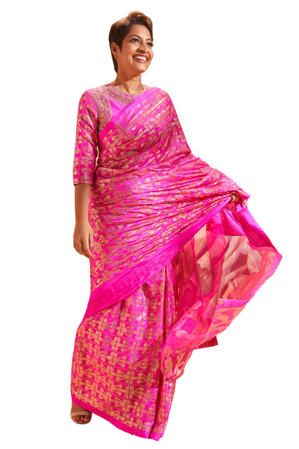 Cabaret Pink Tree Trunk Silk Sari With Cabaret Pink Embroidered Blouse Piece