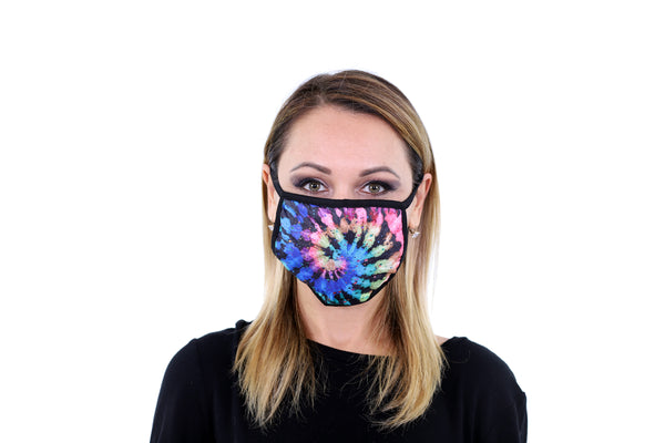 3 Pk Premium Tie Dye Print Reusable Face Mask Unisex Breathable Washable 2 Layer Ice Silk and Cotton Fabric