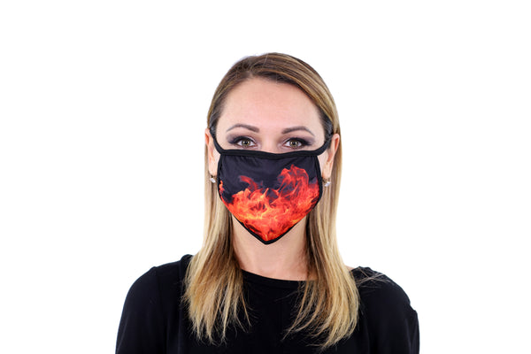 3 Pk Printed Orange Flame Multi Color Reusable Face Mask Unisex Breathable Washable 2 Layer Ice Silk & Cotton Fabric