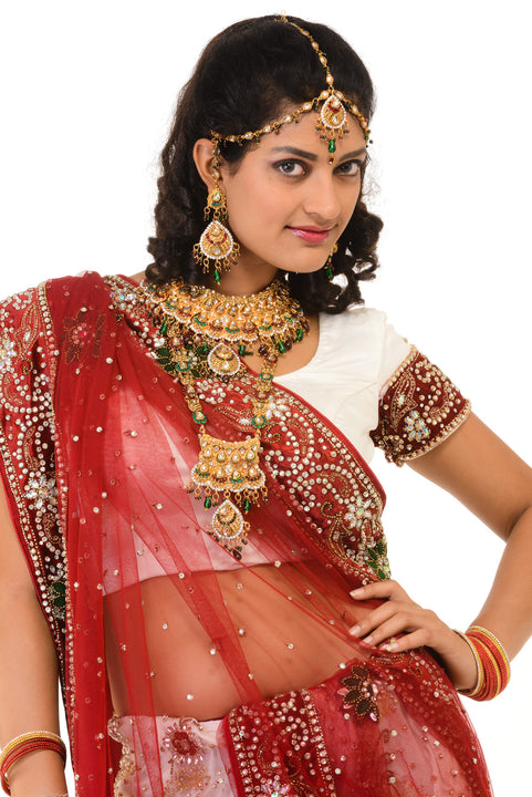 Simply Beautiful  Red and White Wedding Lehenga Choli