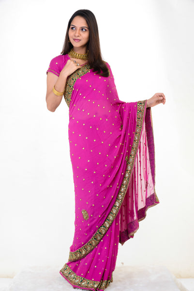 Pink Ready to Wear Party Sari