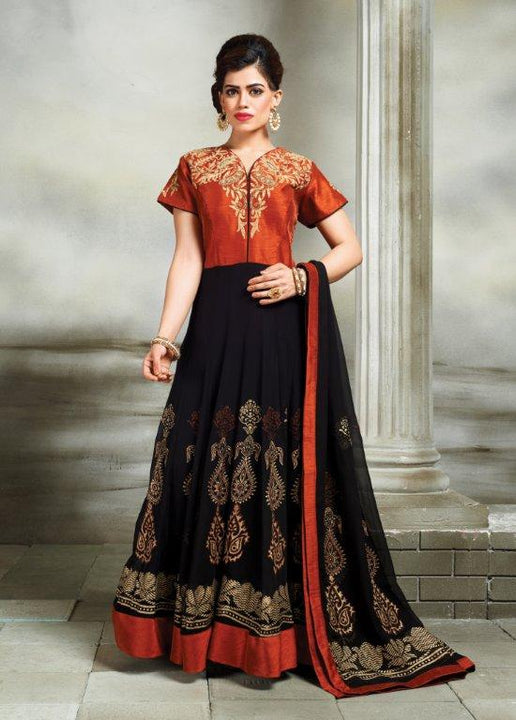 Lovely Rosewood Silk Embroidered Indo-Western Anarkali Gown