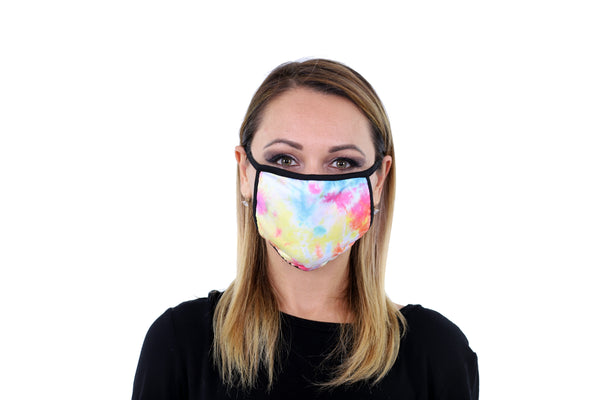 3 Pk Deluxe Tie Dye Print Reusable Face Mask Unisex Breathable Washable 2 Layer Ice Silk and Cotton Fabric