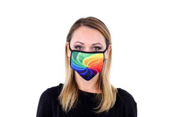 3 Pk Rainbow Swirl Printed Multi Colored Reusable Face Mask Unisex Breathable Washable 2 Layer Ice Silk & Cotton Fabric