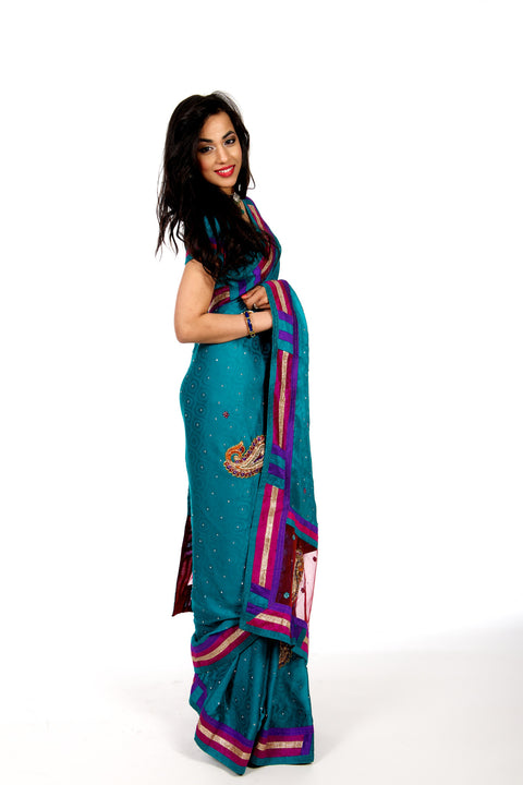 Color Block Party wear Sari