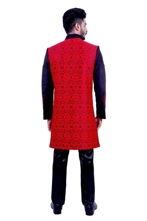 Red and Black Indian Wedding Indo-Western Sherwani for Men