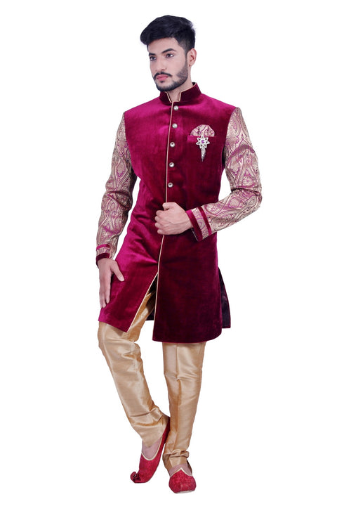 Burgundy Purple Indian Wedding Indo-Western Sherwani for Men