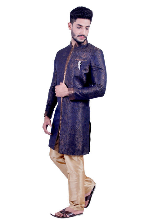 Denim Blue and Gold Indian Wedding Indo-Western Sherwani for Men