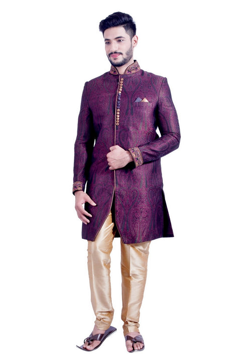 Multi Colored Indian Festivels Indo-Western Sherwani for Men