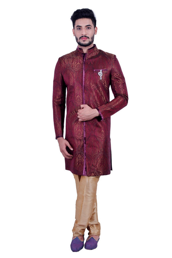 Short Multicolor Indian Wedding Indo-Western Sherwani for Men