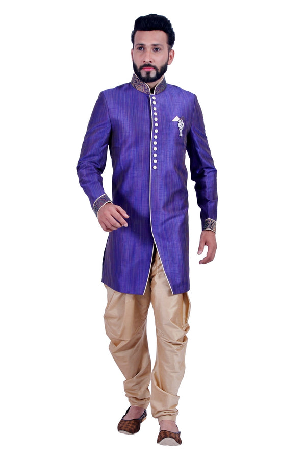 Blue Indigo Indian Wedding Indo-Western Sherwani for Men