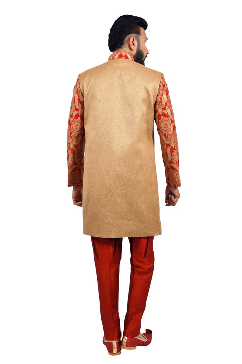 Natural Jute and Maroon Indian Wedding Indo-Western Sherwani for Men