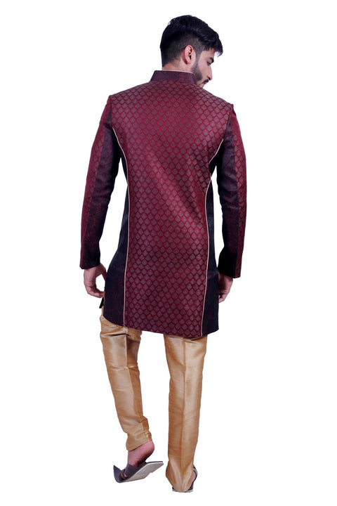 Wine and Black Indian Festive Occasion Indo-Western Sherwani for Men