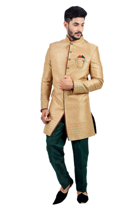 Natural Jute Indian Wedding Indo-Western Sherwani for Men