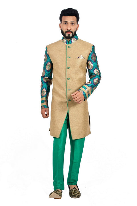 Natural Jute and Green Indian Wedding Indo-Western Sherwani for Men RK1114SNT