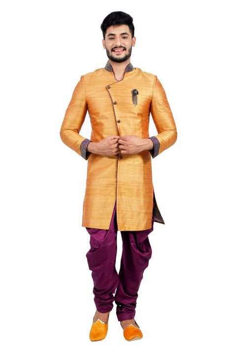 Burnt Orange Indian Wedding Indo-Western Sherwani for Men