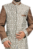 White and Sienna Coffee Indian Wedding Indo-Western Sherwani for Men