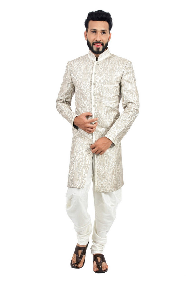 Creamy White Indian Wedding Indo-Western Sherwani for Men