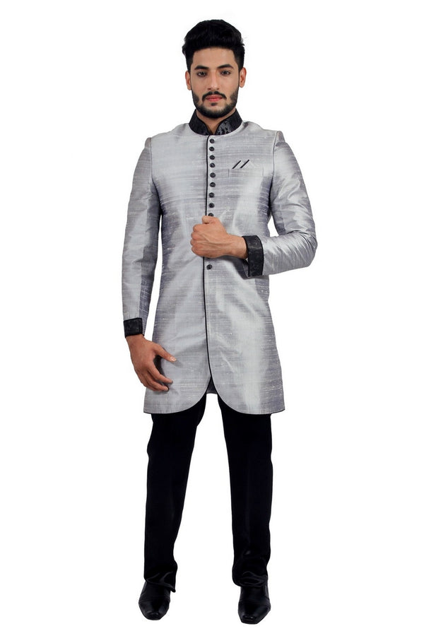 Silver Grey Indian Wedding Indo-Western Sherwani for Men