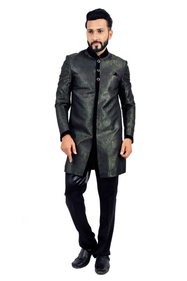 Darkgreen and Black Indian Wedding Indo-Western Sherwani for Men