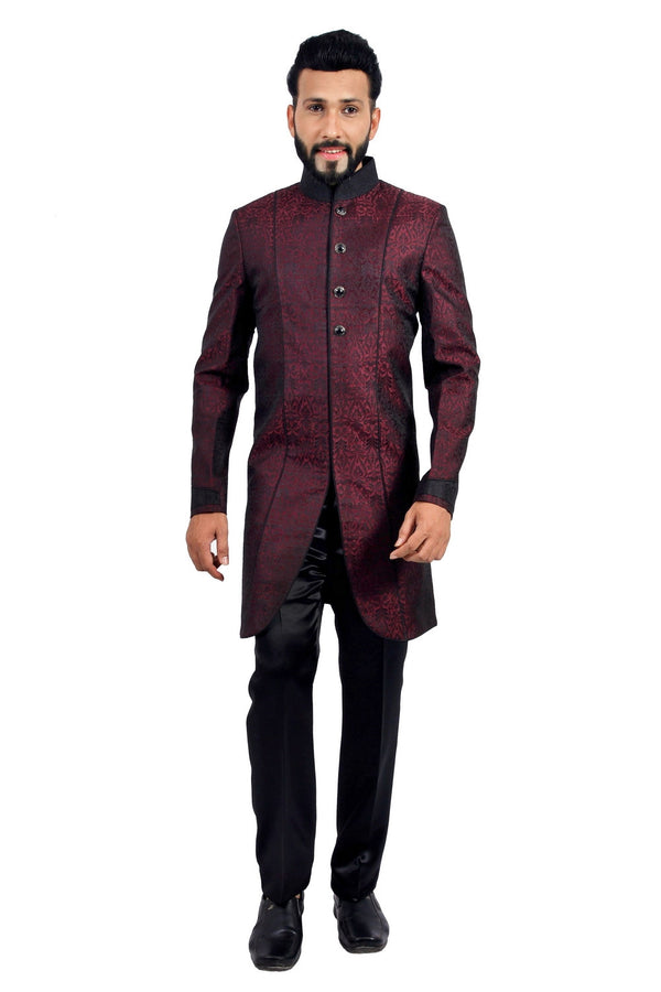 Maroon and Black Indian Wedding Indo-Western Sherwani for Men