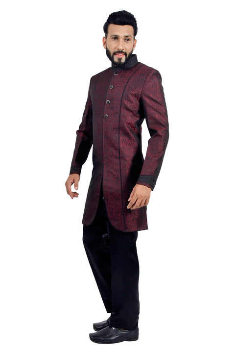 Marron and Black Indian Wedding Indo-Western Sherwani for Men