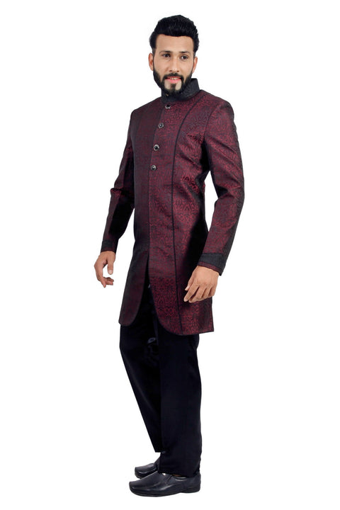 Marron and Black Indian Wedding Indo-Western Sherwani for Men RK1128SNT