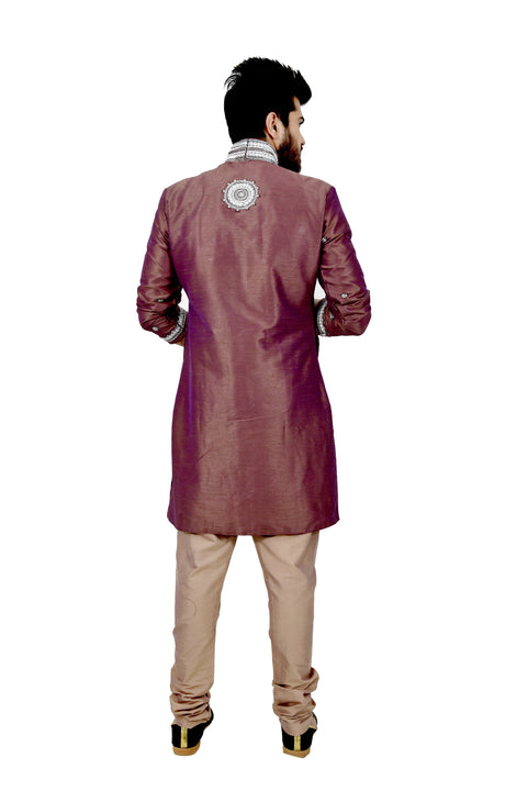 Rosy Brown Silk Traditional Indian Wedding Indo-Western Sherwani for Men