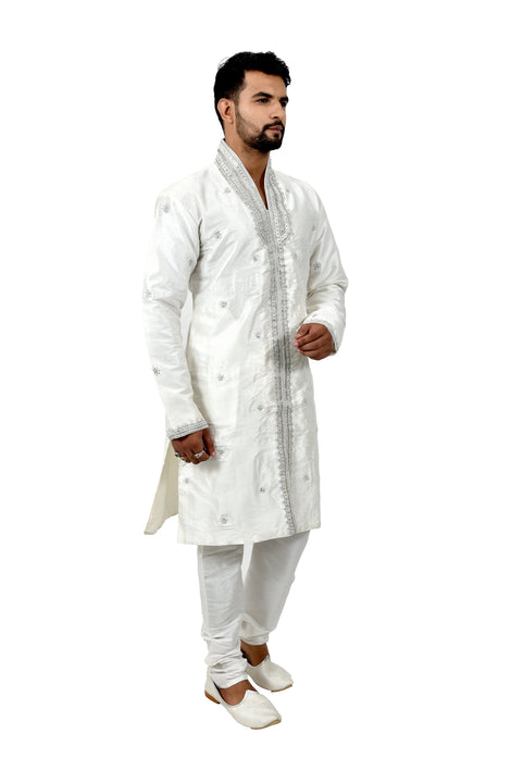 White Silk Traditional Indian Wedding Indo-Western Sherwani for Men