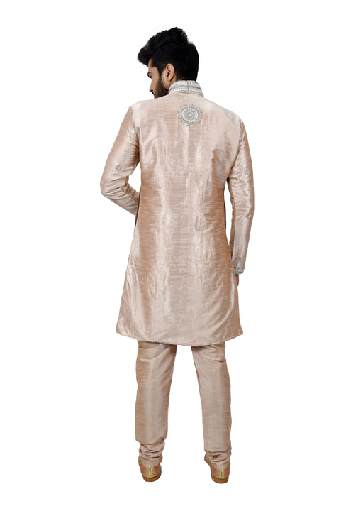 Almond Silk Traditional Indian Wedding Indo-Western Sherwani for Men