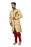 Golden Zari Brocade Silk Traditional Indian Wedding Indo-Western Sherwani for Men